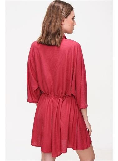 Pink Park Beli Büzgülü Dokuma Elbise ALC0004 Kiremit